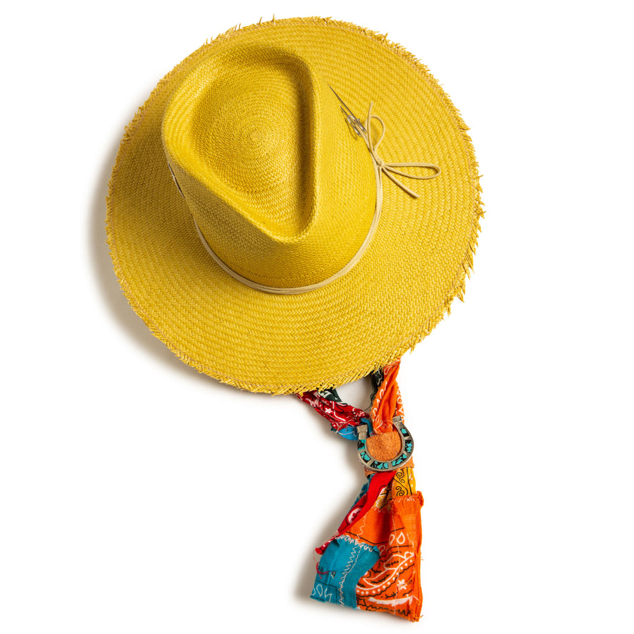 Yellow Custom Handmade Fedora by Hatmaker Alberto Hernandez of Meshika Hats