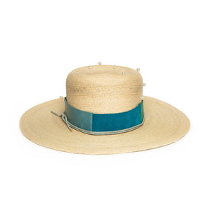 Luxury Custom Natural Straw Fedora by Hatmaker Alberto Hernandez of Meshika Hats Located in Los Angeles California