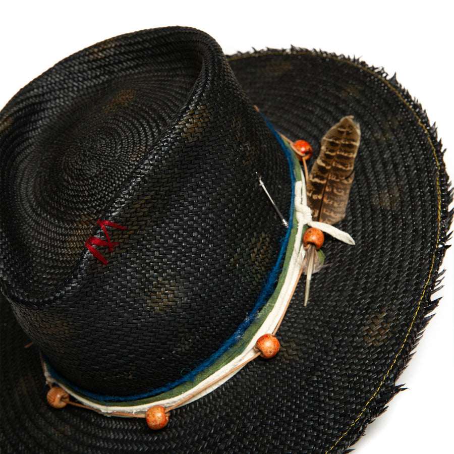 Luxury Handmade  Black Fedora made straw by Hatmaker Alberto Hernandez of Meshika Hats