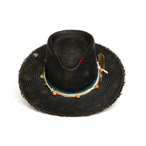 Luxury Handmade Black Fedora with feathers made with Straw by Hatmaker Alberto Hernandez of Meshika Hats