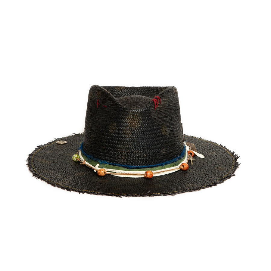 Black Fedora in luxury Straw by Hatmaker Alberto Hernandez of Meshika Hats