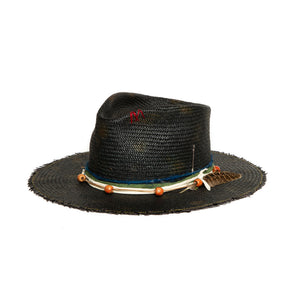 Black Straw Custom Fedora by Hatmaker Alberto Hernandez of Meshika Hats Made in Los Angeles California
