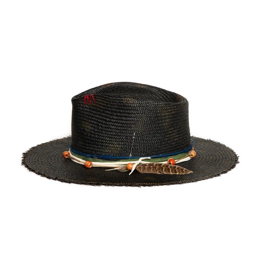 Luxury Custom Black Straw Fedora by Hatmaker Alberto Hernandez of Meshika Hats Located in Los Angeles California
