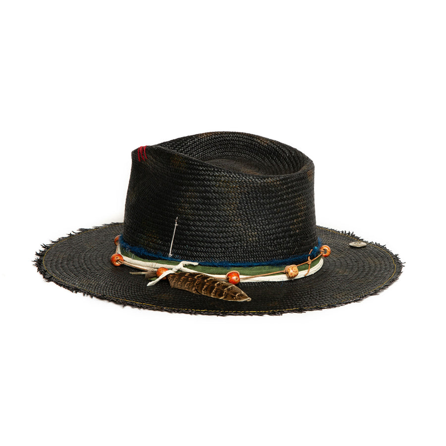 Custom Black Fedora in luxury Straw by Celebrity Hatmaker Alberto Hernandez of Meshika Hats