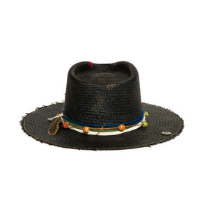 Luxury Handmade Black Straw Fedora made with straw by Celebrity Hatmaker Alberto Hernandez of Meshika Hats
