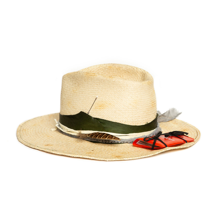 Custom Straw Fedora by Hatmaker Alberto Hernandez of Meshika Hats Made in Los Angeles California