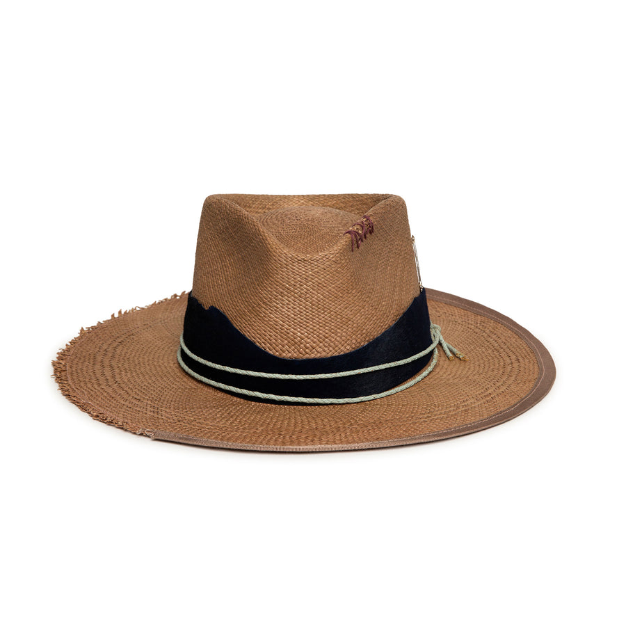 Luxury Handmade Brown Straw Fedora made with rabbit felt by Hatmaker Alberto Hernandez of Meshika Hats