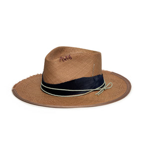 Brown Fedora in luxury straw by Hatmaker Alberto Hernandez of Meshika Hats