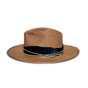 Custom Brown Straw Fedora by Hatmaker Alberto Hernandez of Meshika Hats Made in Los Angeles California
