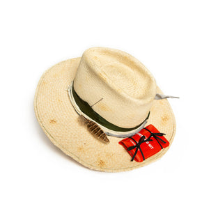 Custom Natural Straw Fedora by Hatmaker Alberto Hernandez of Meshika Hats Made in Los Angeles California