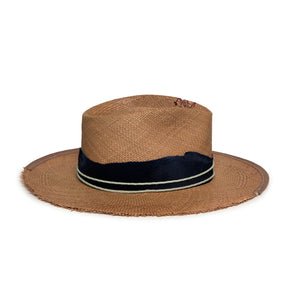 Custom Summer Straw Fedora by Hatmaker Alberto Hernandez of Meshika Hats Made in Los Angeles California