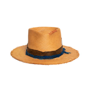 Luxury Handmade Straw Fedora made with rabbit felt by Hatmaker Alberto Hernandez of Meshika Hats