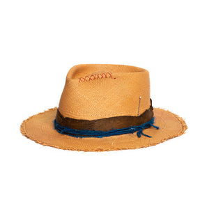 Fedora in luxury natural straw by Hatmaker Alberto Hernandez of Meshika Hats