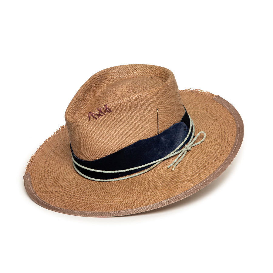 Custom Handmade Brown Straw Fedora by Hatmaker Alberto Hernandez of Meshika Hats