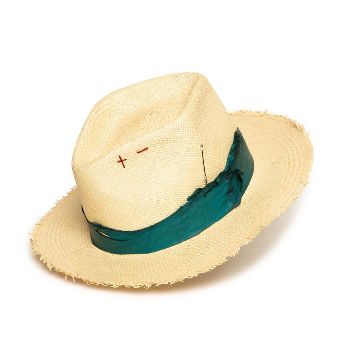 Custom Handmade Natural Straw Fedora by Hatmaker Alberto Hernandez of Meshika Hats