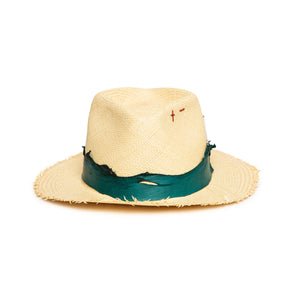 Luxury Handmade Natural Fedora made with straw by Hatmaker Alberto Hernandez of Meshika Hats