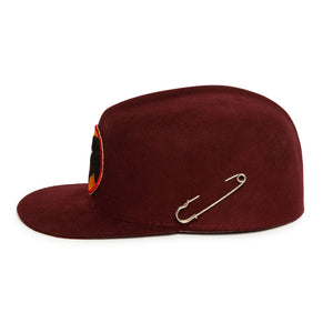 Maroon Wool Custom Handmade Hat by Hatmaker Alberto Hernandez of Meshika Hats