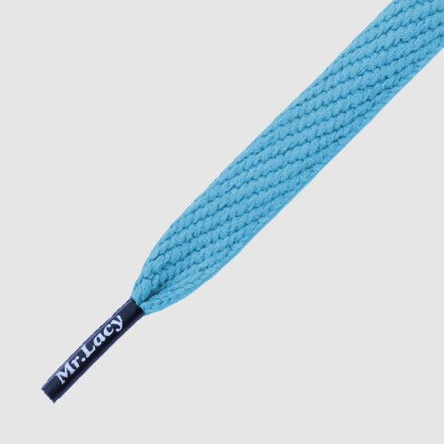 Mr.Lacy Flatties Coloured Tips Shoelaces - Mellow Blue with Black Tip
