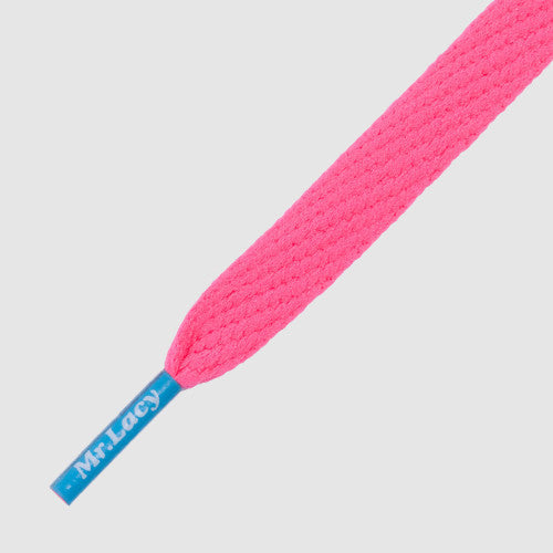 Flatties Coloured Tips Shoelaces - Neon Pink with Mellow Blue Tip