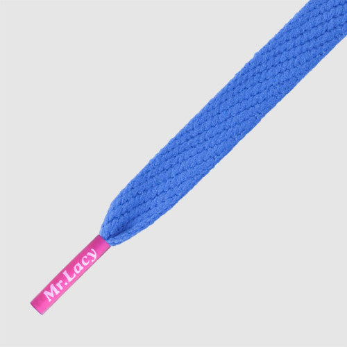 Mr.Lacy Flatties Coloured Tips Shoelaces - Royal Blue with Neon Pink Tip