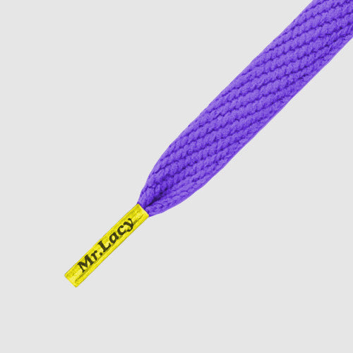 Junior Flatties Coloured Tips Shoelaces - Violet with Yellow Tip