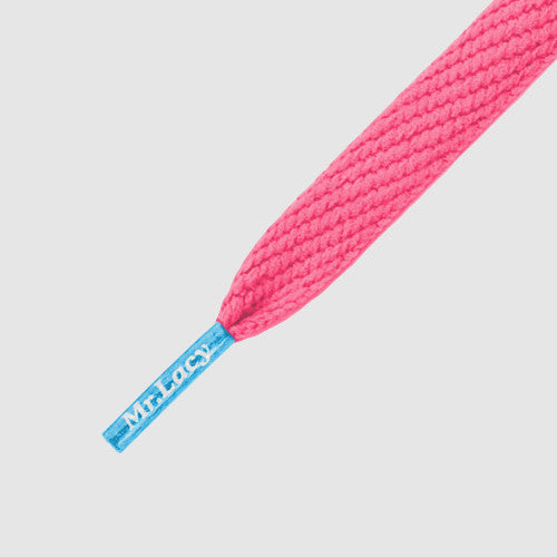 Junior Flatties Coloured Tips Shoelaces - Neon Pink with Mellow Blue Tip