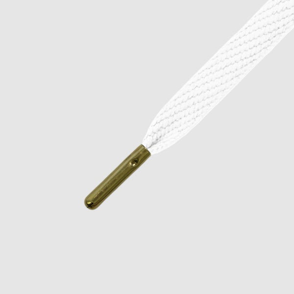 Skinnies Metal Tips Shoelaces - White with Gold Tips