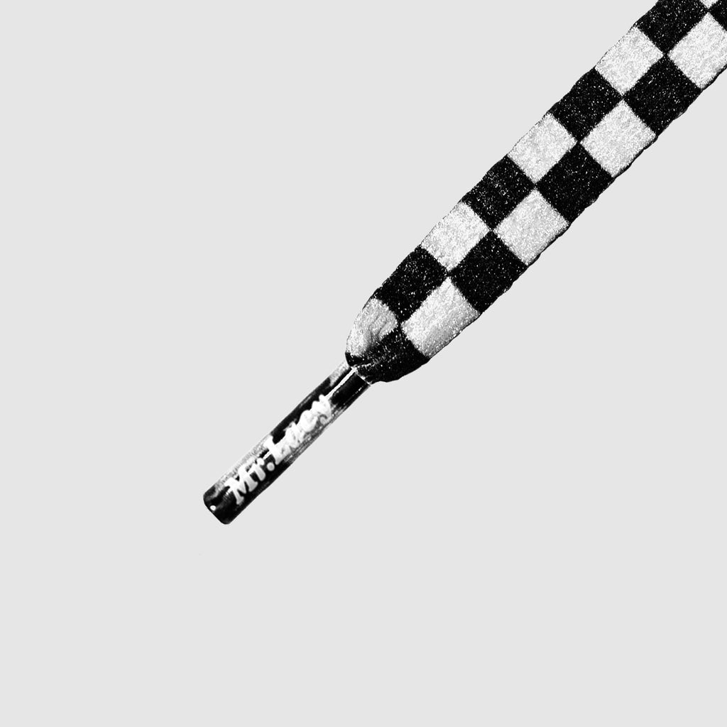 Smallies Printed Shoelaces - Black & White Checkerboard