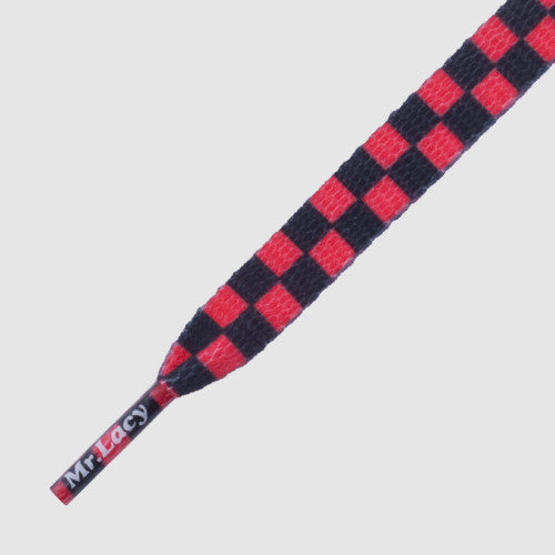 Mr.Lacy Printies Shoelaces - Checkered Red/Black