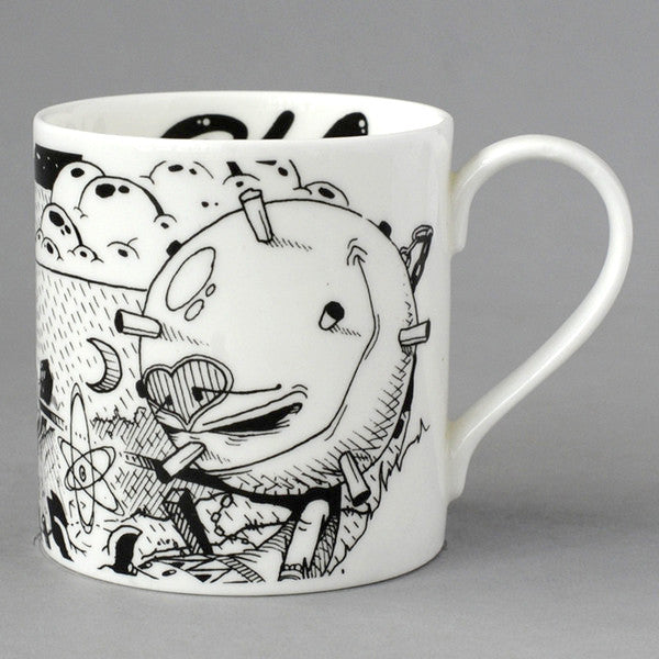 Fine bone china gift giftware local mug salvaged vintage print radical Stokes Croft Bristol art  Renowned master of spray control 3dom makes his debut on fine English bone china with this enigmatic monochrome line drawing. spray paint street art creative aerosol
