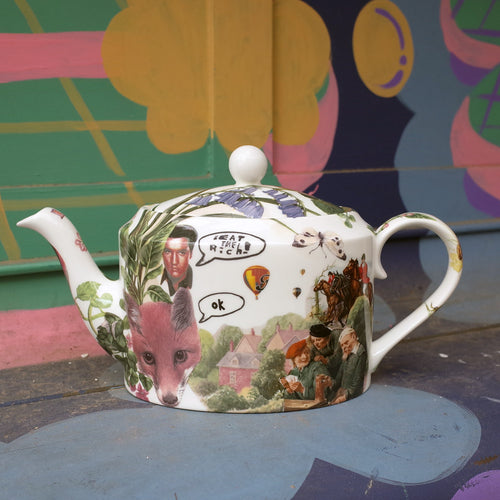 Eat the Rich OK! Teapot by Scot Burgoyne