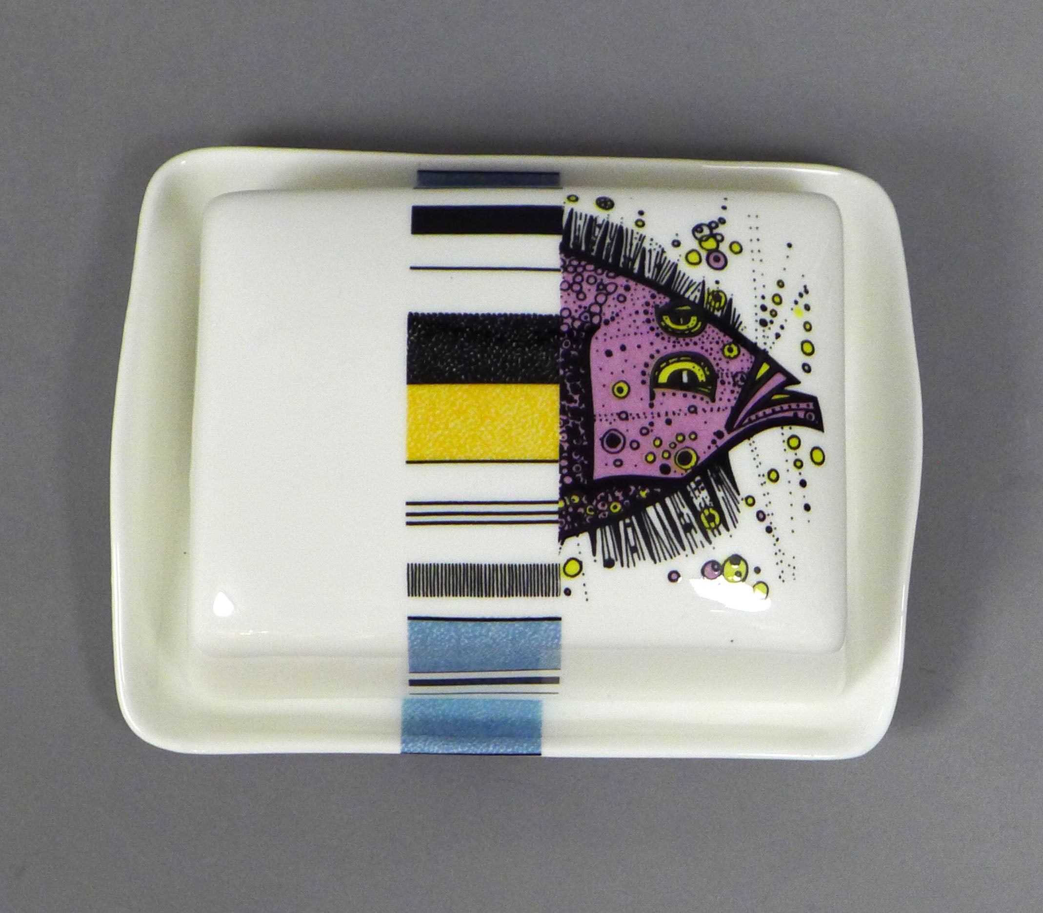 Butter Dish Fish Stripe