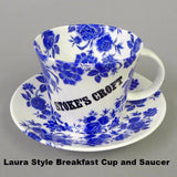 Stokes Croft Blue Floral Breakfast Cup and Saucer, Modern