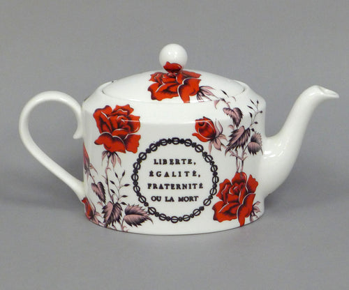 Red Floral Liberty Equality Community Teapot