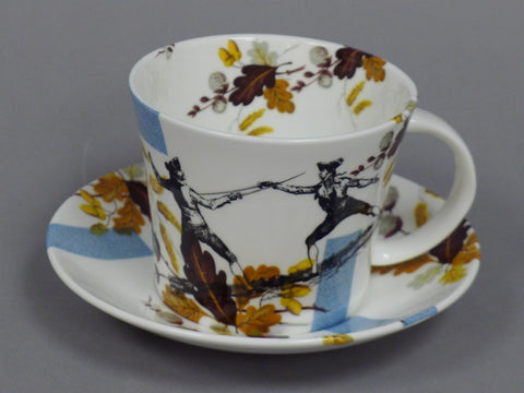 Spode Bluebird Amber Cup and Saucer