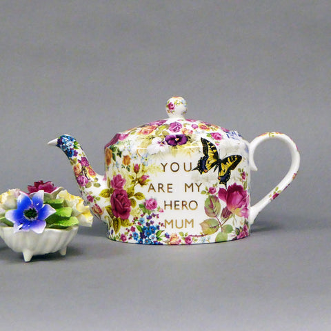 Unique Be Kind Dalai Lama Teapot with Spode edging