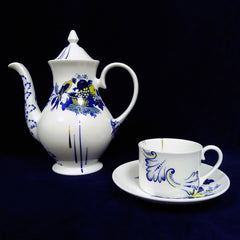 This classic Copeland Spode pattern 'Bluebird' has been chopped up and rearranged using patterns designed for different shapes of ware on one piece to bring it bang up to date.   The quality and strength of the cobalt shines through in this limited old print, it remains unrivalled by its modern equivalents. Twice fired and made exclusively by Bev Milward this pattern is made to order in limited numbers, please allow for this when ordering.  Prices Various    The Designer Bev Milward is an established maker