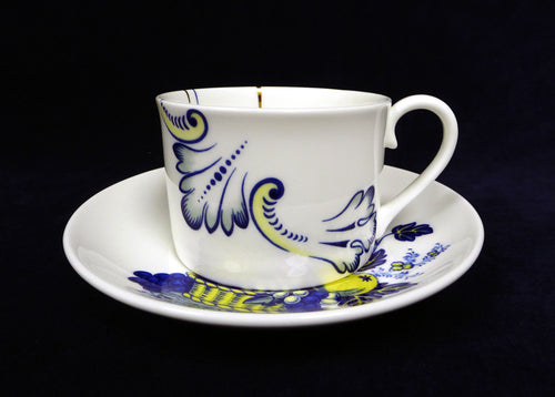 This classic Copeland Spode pattern 'Bluebird' has been chopped up and rearranged using patterns designed for different shapes of ware on one piece to bring it bang up to date.   The quality and strength of the cobalt shines through in this limited old print, it remains unrivalled by its modern equivalents. Twice fired and made exclusively by Bev Milward this pattern is made to order in limited numbers, please allow for this when ordering. stokes croft china fine art buy