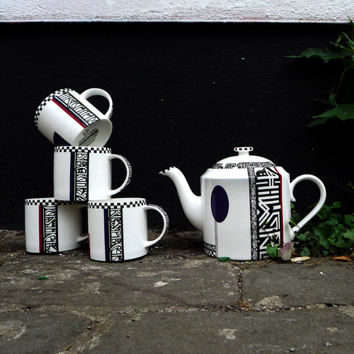Inspired by the colours and graphic qualities of Russian revolutionary porcelain of the1920's Bev Milward combines hand cut vintage block colour with transfers designed by graffiti writers Felix Braun and 45RPM (WHT Collective). The set of four mugs bear the words Truth, Beauty, Justice and Respect. The address of our workshop is found on each piece.