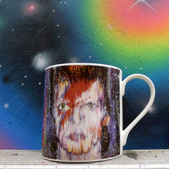 The moon is full, Mars is direct and Mercury is out of retrograde.  Clocks go back and the seasons change....  Introducing our new david Bowie mug from artist George Harding.  'I don't know where I'm going but I promise it won't be boring.'  Wise words from the Thin White Duke to inspire you to reach for the stars. fine bone china bristol stokes croft gift