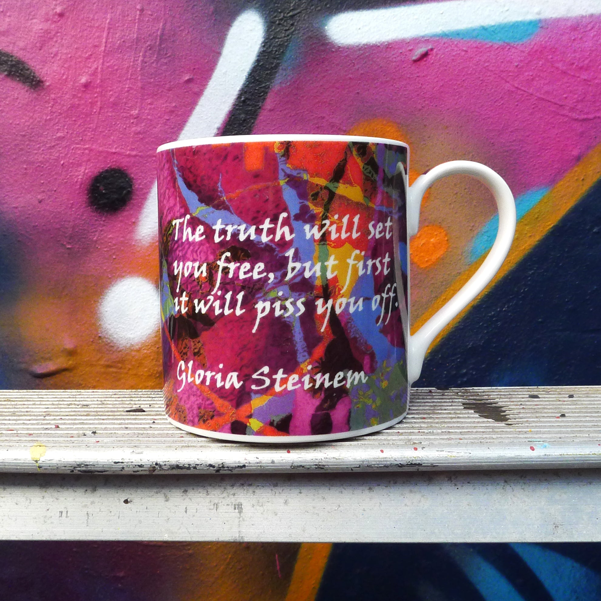 Gloria Steinem (1934- ) Steinem is a feminist, journalist, and social political activist who became nationally recognized as a leader for the American feminist movement in the late 1960s and early 1970s. activist feminist political mug uk
