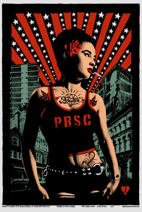 prsc lady These screen prints are a limited edition run of 200. They contain four colours and were hand screen printed and signed by Chris Hopewell of Jacknife Posters for PRSC, from their studio in Stokes Croft.
