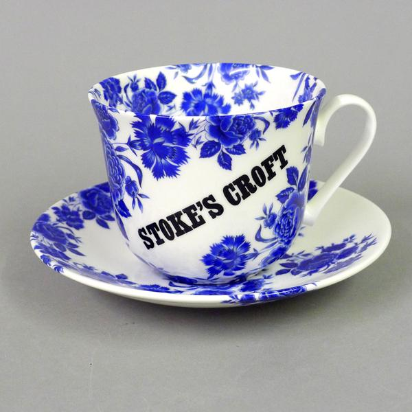 Stokes Croft Blue Rose Cup and Saucer