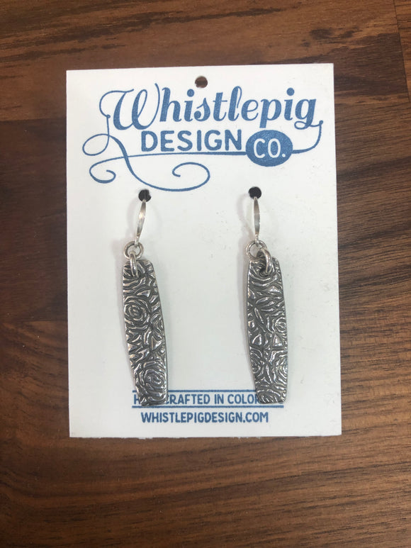 Long Rose Fine Silver Earrings
