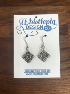 Patterned Fine Silver Earrings