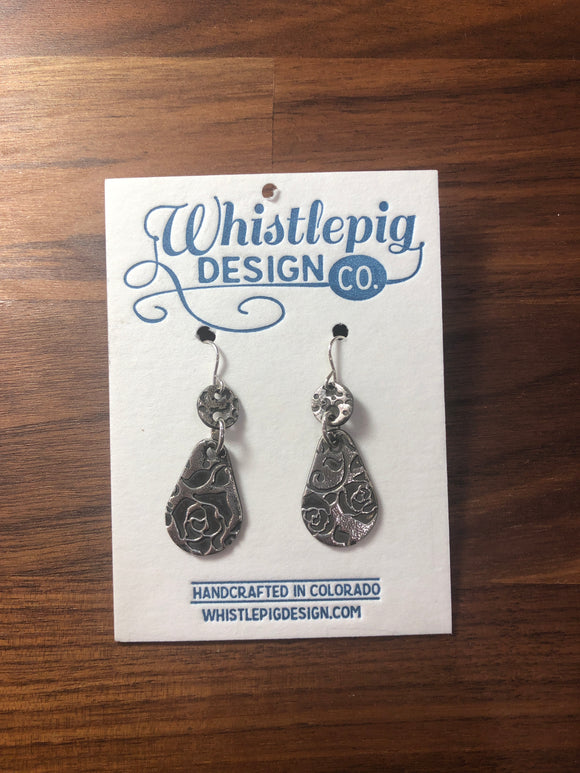 Rose Fine Silver Earrings