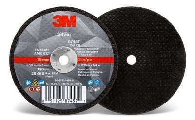 3M™ Silver Cut-Off Wheel | 3 inch x .035 in x 1/4 in T1 | 50 per box