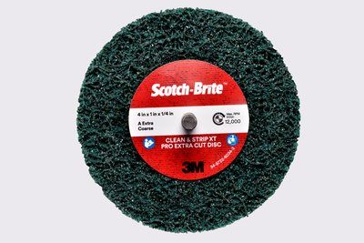 Scotch-Brite™ Clean and Strip XT Pro Extra Cut Disc | 4 inch x 1 inch AXCS | 1/4 inch Shaft Mount 10 per box