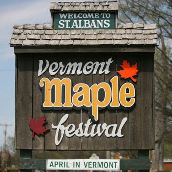 St Albans Vermont Maple Festival sign welcoming fair goers to the city.