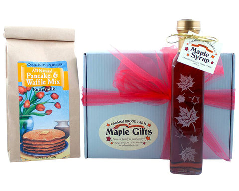 Our best maple syrup and pancake mix round out this delicious breakfast box for Valentine's Day.